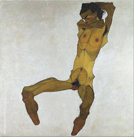 Seated Nude Male 1910 By Egon Schiele - Oil Paintings & Art Reproductions - Reproduction Gallery