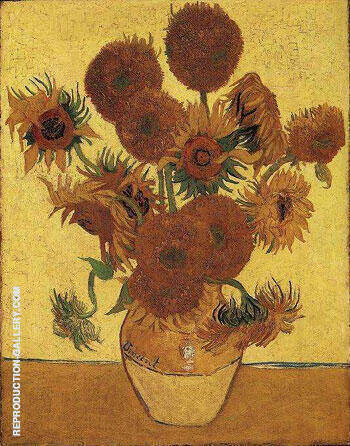 Vase with Fifteen Sunflowers 1888 By Vincent van Gogh
