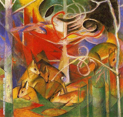 Deer in the Forest I Painting By Franz Marc - Reproduction Gallery