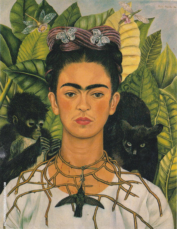 Self Portrait with thorn Necklace and Hummingbird940 By Frida Kahlo