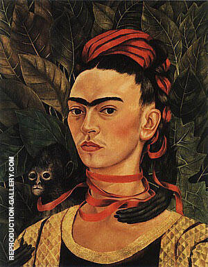 Reproduction of Self Portrait with Monkey 1940 by Frida Kahlo | Oil Painting Replica On CanvasReproduction Gallery