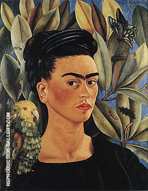 Self Portrait with Bonito 1941 Painting By Frida Kahlo