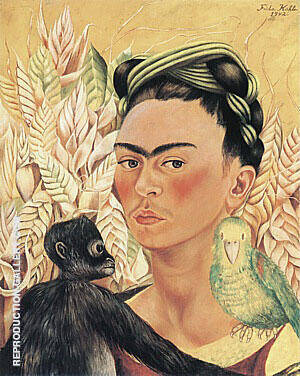 Self Portrait with Monkey Parrot 1942 Painting By Frida Kahlo