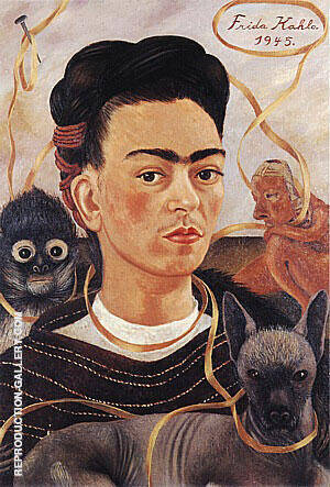 Self Portrait with Small Monkey 1945 By Frida Kahlo
