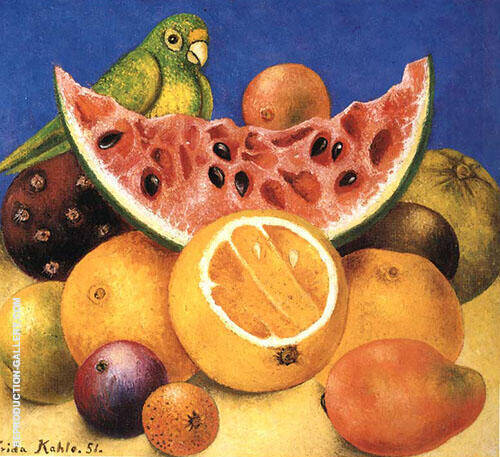 Still Life with Parrot 1951 By Frida Kahlo