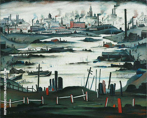 The Lake 1937 Painting By L-S-Lowry - Reproduction Gallery