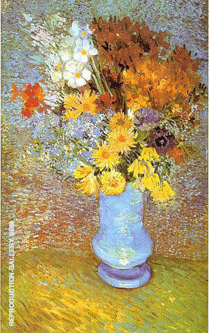 Vase with Daisies and Anemones 1887 By Vincent van Gogh