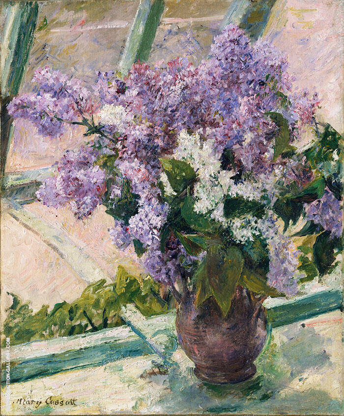 Lilacs In a Window 1889 By Mary Cassatt Replica Paintings on Canvas - Reproduction Gallery