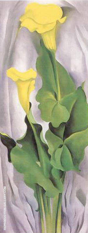 Yellow Calla with Green Leaves Painting By Georgia O'Keeffe