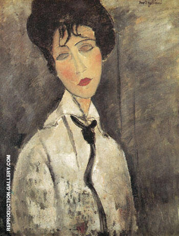Woman with Black Necktie 1917 By Amedeo Modigliani