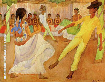 Baile en Tehuantepec Painting By Diego Rivera - Reproduction Gallery