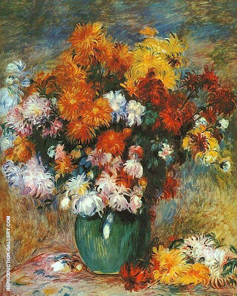 Bouquet of Chrysanthemums By Pierre Auguste Renoir - Oil Paintings & Art Reproductions - Reproduction Gallery
