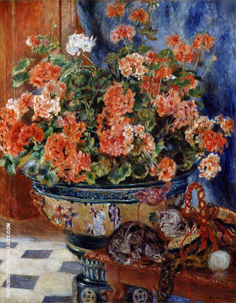 Geraniums and Cats 1881 Painting By Pierre Auguste Renoir
