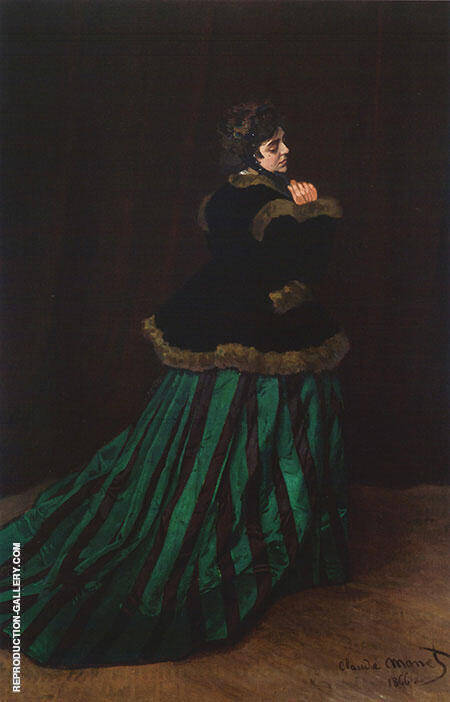 Woman in a Green Dress 1866 By Claude Monet - Oil Paintings & Art Reproductions - Reproduction Gallery