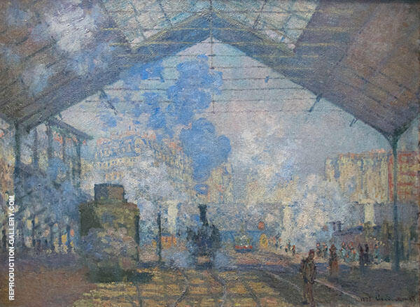 Interior of the Gare Saint Lazare 1877 by Claude Monet | Oil Painting Reproduction Replica On Canvas - Reproduction Gallery