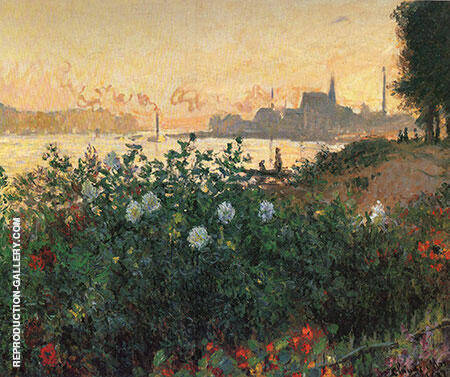 Argenteuil the Bank in Flower 1877 Painting By Claude Monet