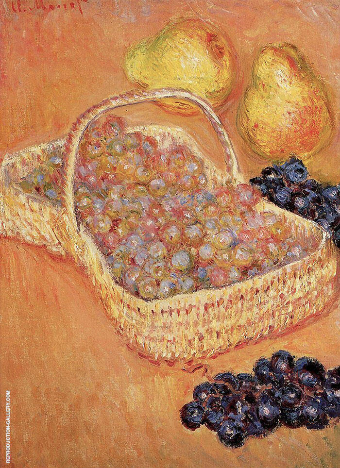 Basket of Grapes Quinces and Pears 1883 By Claude Monet