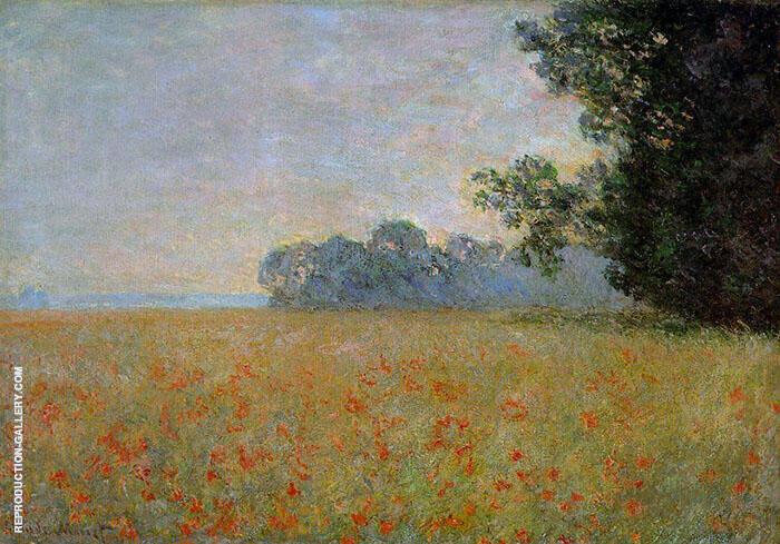 Oat and Poppy Fields 1890 By Claude Monet