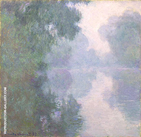 Morning on the Seine near Giverny Mist 1896-97 By Claude Monet