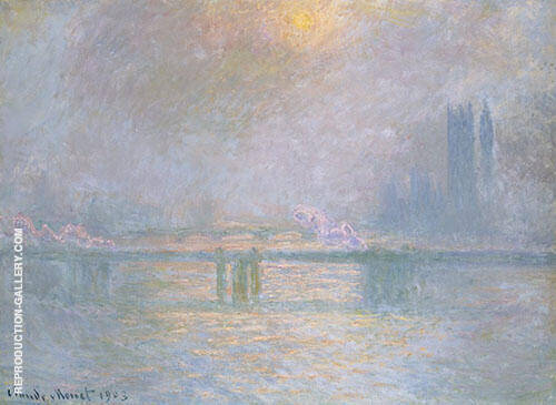 Charing Cross Bridge Overcast Day c1899 Painting By Claude Monet
