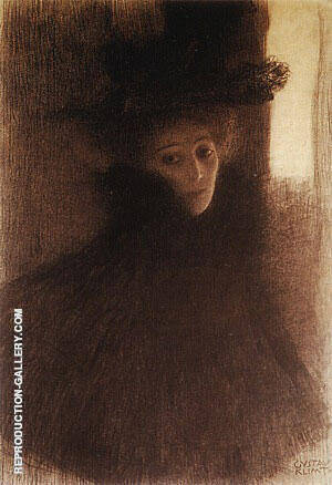 Portrait of a Lady with Cape and Hat 1897 By Gustav Klimt