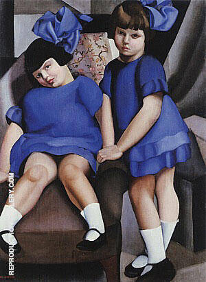 Two Little Girls with Ribbons 1925 By Tamara de Lempicka - Oil Paintings & Art Reproductions - Reproduction Gallery