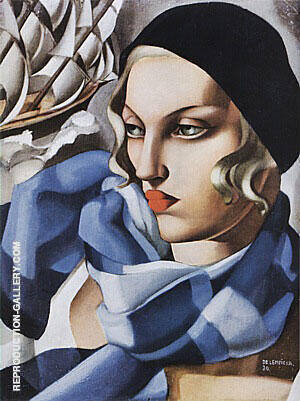 The Blue Scarf 1930 Painting By Tamara de Lempicka - Reproduction Gallery