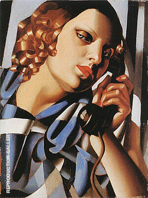 The Telephone II 1930 By Tamara de Lempicka - Oil Paintings & Art Reproductions - Reproduction Gallery