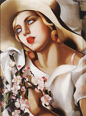 The Straw Hat, 1930 Painting By Tamara de Lempicka - Reproduction Gallery