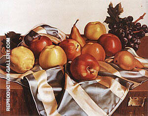Still Life of Fruits and Silk Drape 1949 Painting By Tamara de Lempicka
