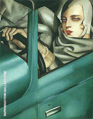 Auto Portrait Green Bugatti By Tamara de Lempicka - Oil Paintings & Art Reproductions - Reproduction Gallery