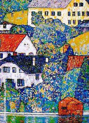 Reproduction of Houses at Unterach on the Attersee c1916 by Gustav Klimt | Oil Painting Replica On CanvasReproduction Gallery