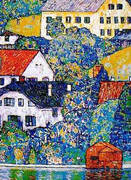 Houses at Unterach on the Attersee c1916 By Gustav Klimt