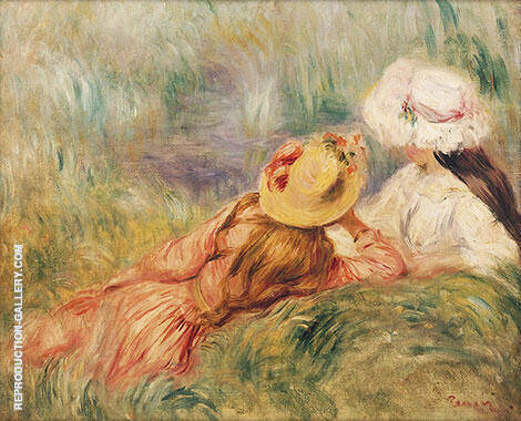 Young Girls at the Water's Edge Painting By Pierre Auguste Renoir