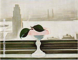 Pink Dish and Green Leaves 1928 By Georgia O'Keeffe