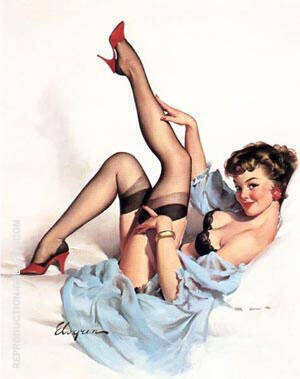 Gil Elvgren, Black Stockings By Pin Ups