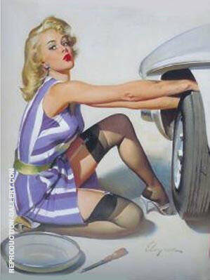 Tyre Change By Pin Ups - Oil Paintings & Art Reproductions - Reproduction Gallery