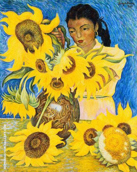 Muchacha Con Girasoles (Sunflowers) By Diego Rivera