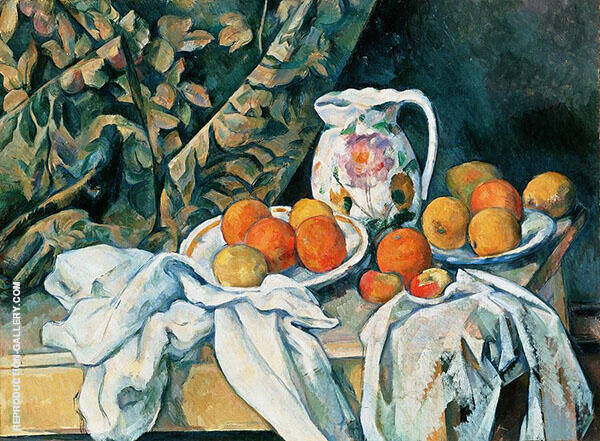 Still Life with Curtain and Flowered Pitcher 1899 By Paul Cezanne
