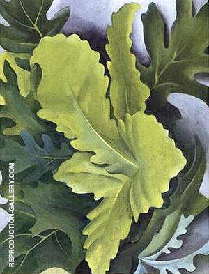 Green Oak Leaves Painting By Georgia O'Keeffe - Reproduction Gallery
