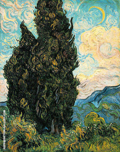 Cypresses 1889 By Vincent van Gogh