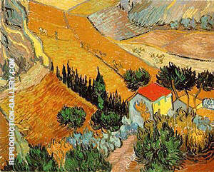 Landscape with House and Ploughman 1889 Painting By Vincent van Gogh