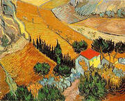 Landscape with House and Ploughman 1889 By Vincent van Gogh