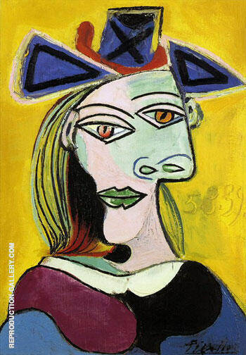 Tete de Femme au Cheapau Bleu Robe Rouge By Pablo Picasso - Oil Paintings & Art Reproductions - Reproduction Gallery