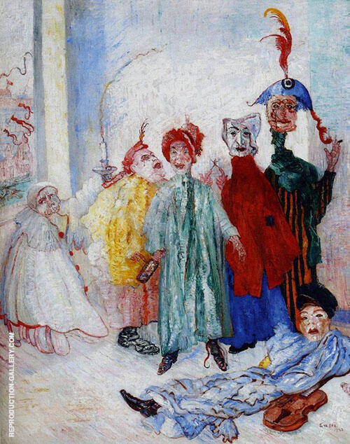 The Strange Masks 1892 Painting By James Ensor - Reproduction Gallery