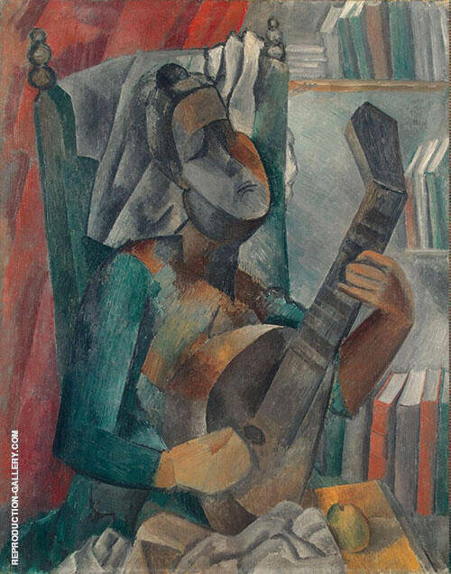 Woman with Mandolin Painting By Pablo Picasso - Reproduction Gallery