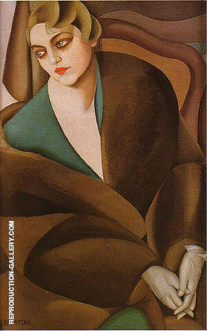 Reproduction of Portrait of Baroness Renata Treves 1925 by Tamara de Lempicka | Oil Painting Replica On CanvasReproduction Gallery