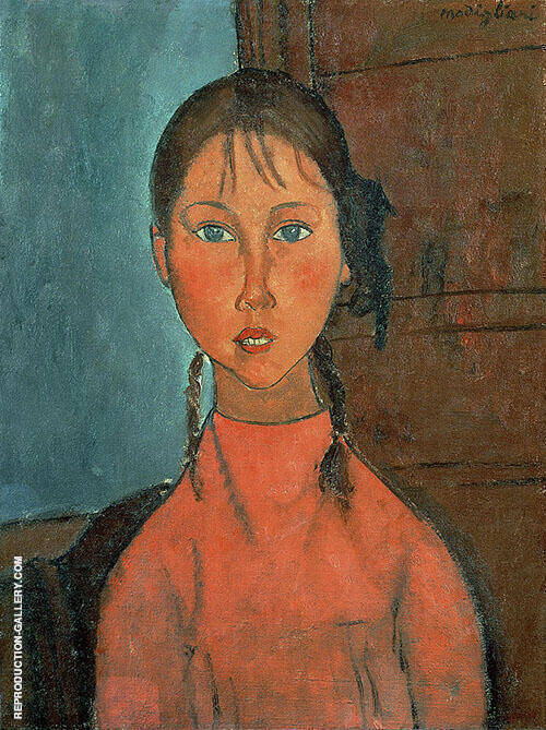 Girl with Pigtails By Amedeo Modigliani Replica Paintings on Canvas - Reproduction Gallery