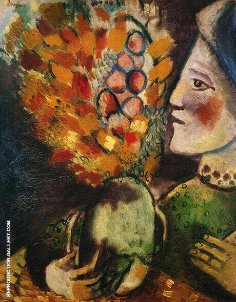 Woman with a Bouquet, 1910 Painting By Marc Chagall - Reproduction Gallery