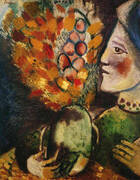 Woman with a Bouquet, 1910 By Marc Chagall